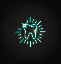 Neon shining tooth icon in line style vector