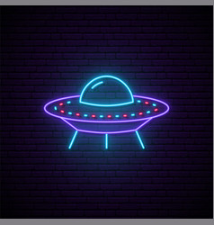 Neon ufo sign bright glowing spaceship icon on vector