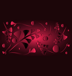 pattern of crimson black plants and grass blades vector image