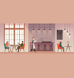 people in coffee shop friends meet and drink vector image