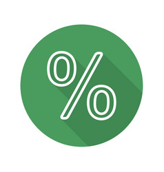Percent sign flat linear long shadow icon vector