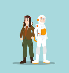 Pilot and astronaut in different character on sky vector