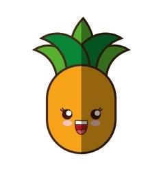 Pineapple fresh fruit kawaii style isolated icon vector