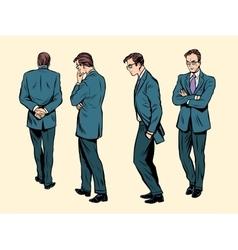 Poses of a walking human thinking vector