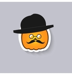 Pumpkin hipster round glasses and a bowler hat vector image