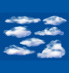 Realistic clouds cloudy sky fluffy cloud and vector
