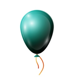 Realistic jade balloon with ribbon isolated on vector