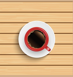 realistic top view red coffee cup on wooden table vector image