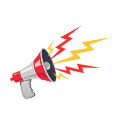 red megaphone with colorful lightning vector image