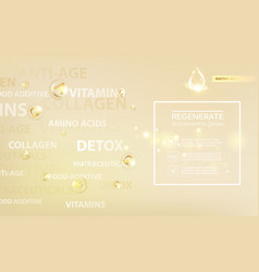 Regenerate cream and vitamin label concept skin vector