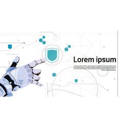 Robot hand touch button digital shield button web vector