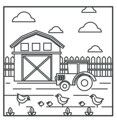 rural landscape barn and tractor chickens vector image