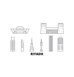 Saudi arabia riyadh line travel skyline set vector