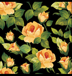 seamless floral pattern with beautiful roses vector image
