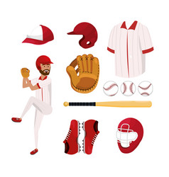 set baseball player and professional uniform vector image