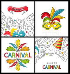 Set celebration festive banners for happy carnival vector