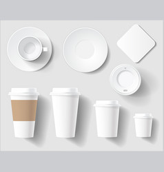 set empty white coffee brand cups mockup vector image