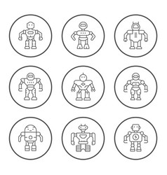 set round line icons of robot vector image