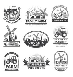 Signs and labels for farm market monochrome vector
