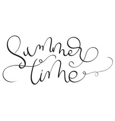 Summer time text on white background hand drawn vector