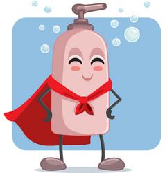 Superhero soap botttle cartoon character vector