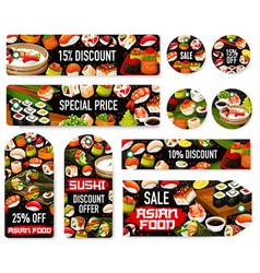 Sushi rolls nigiri temaki tags japanese food vector