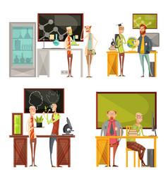 Teachers retro compositions vector