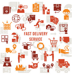 template fast delivery logistic set in flat style vector image