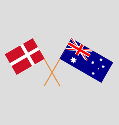 the australian and danish flags vector image