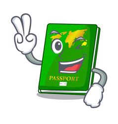 Two finger green passport in the cartoon shape vector