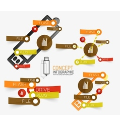 Usb flash infographic with keywords vector