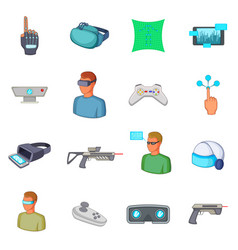 Virtual reality icons set cartoon style vector