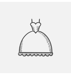 Wedding dress sketch icon vector image