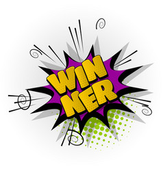 winner win game comic book text pop art vector image