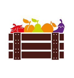 Wooden basket with fruits and vegetables vector