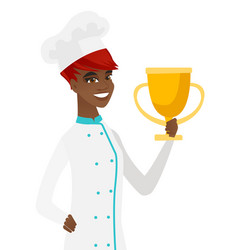 Young african-american chef holding a trophy vector
