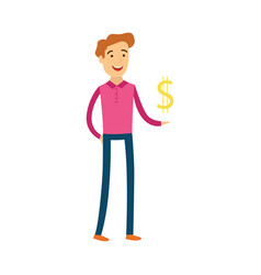young man with dollar sign in his hand - male vector image