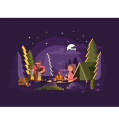 Camp is near a fire vector image