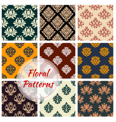 damask seamless pattern with floral ornament vector image vector image