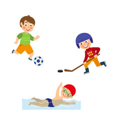 flat boys doing sports set vector image