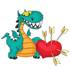 great dragon and heart vector image vector image