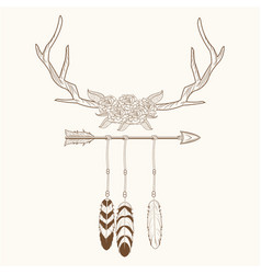 free spirit horns with feathers style rustic vector image vector image