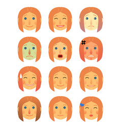 girl or woman different face emotions collection vector image vector image