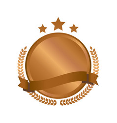 Modern bronze circle metal badges labels and vector