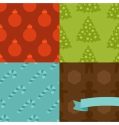 Set of Merry Christmas and Happy New Year seamless vector image