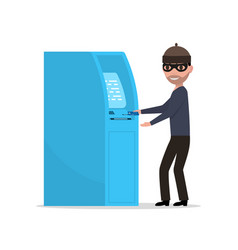 thief robber trying to steal money from atm vector image