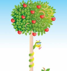 apple-tree with snake vector image vector image