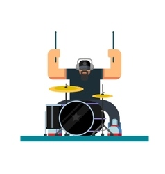 Drummer character flat vector image