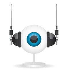 Eye camera and headphones vector image vector image