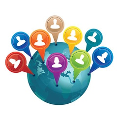 globe with markers with friends - social media con vector image vector image